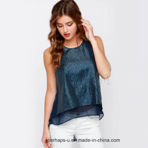 Ladies Sexy Chiffon Tops with Shiny Sequin on Front pictures & photos