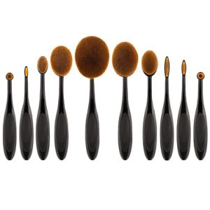 Wholesale Professional 10PCS Oval Toothbrush Brush Set Makeup Brushes Kit pictures & photos