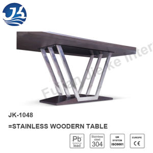 2016 Modern Stainless Wood Roman Dining Table (JK-1048) pictures & photos