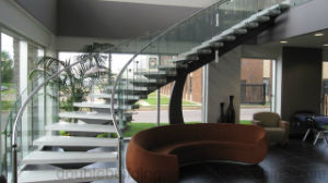Hot Sale Popular Steel Plate Glass Curved Staircase pictures & photos
