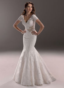 Sweetheart Lace Layer Bridal Gown Mermaid Wedding Dresses pictures & photos