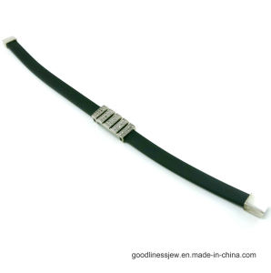Fashion Accessories 925 Silver Bracelet with Black Leather (BT6596) pictures & photos