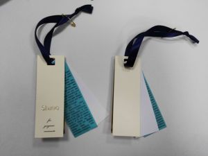 Three Pieces Attached Satin Ribbon Garment Hangtag pictures & photos
