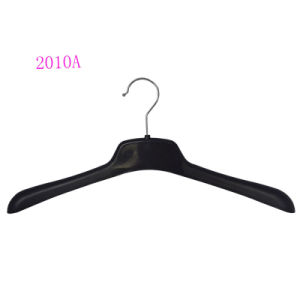 Manufacture Brand Boutique Custom Logo Black Plastic Coat Hanger pictures & photos