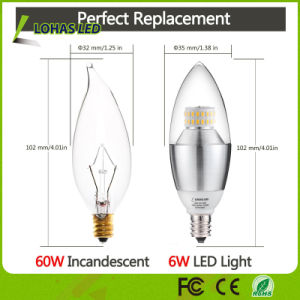 Dimmable E12 E14 E27 3W 5W 6W 7W LED Candle Bulb Light with Ce RoHS UL pictures & photos