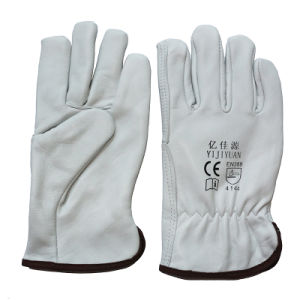 Goat Leather Winter Work gloves Driver Warm Full Lining Gloves pictures & photos