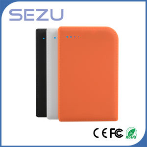 High Capacity 8000mAh Leather Texture Notebook Power Bank with Data Cable pictures & photos