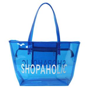 Waterproof PVC Transparent Blue Tote Bag (A090)