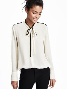 Navy Color Long Sleeve Women Blouse pictures & photos