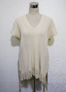 Women Fashion V-Neck Acrylic Knitted Fringe Shawl Poncho (YKY4533) pictures & photos