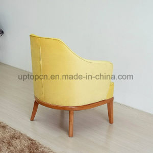 New Arrival Upholstered Yellow Restaurant Leisure Chair with Wooden Legs (SP-HC582) pictures & photos