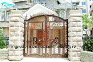 Haohan High-Quality Exterior Security Decorative Wrought Iron Fence Gate 16 pictures & photos