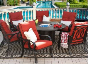 Outdoor Furniture for Patio Aluminum Garden Fire Pit Dining Set pictures & photos