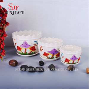 Ceramic Set of 3 Flowerpot with Beautiful Mushroom Pattern pictures & photos