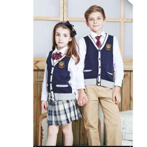 British Style Cardigan Sweater Primary School Uniform Designs pictures & photos