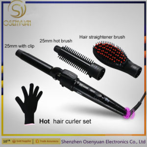 2017 Best Sell 3 in 1 Interchangeable Hair Curler + Hot Brush + Hair Straightener Brush pictures & photos