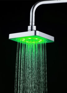 Square Green Colour Temperature Controlled No Battery LED Overhead Shower Head pictures & photos
