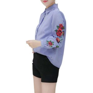 Women Blouse Flower Embroidery Long Sleeve Work Shirts Women Office Tops pictures & photos