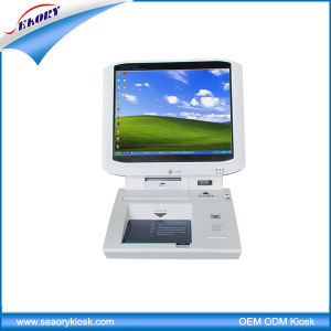 Desktop 15′′ Touch Screen Visitor Registration Kiosk with Passport Scanner pictures & photos
