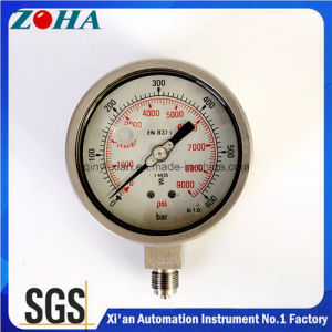 316L Ss Manometer Liquid Filled 0-600bar 0-9000psi Double Scale High Pressure with Accuracy 1.0% IP65 pictures & photos