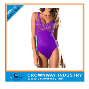 Sublimated Sexy One Piece High Cut Thong Swimwear Women pictures & photos