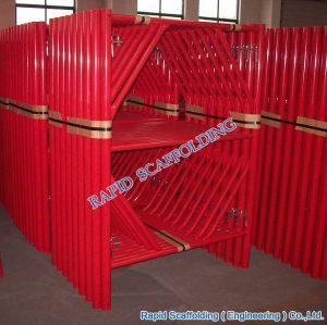 Red Powder Coated SGS Metal Types of Frame System Scaffolding pictures & photos