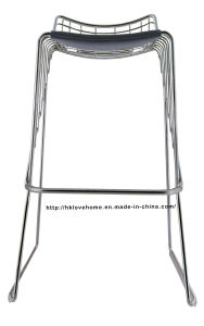 Modern Dining Restaurant Stackable Strings Metal Wire Bar Chair pictures & photos