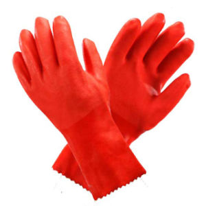 Fully PVC Dipped Orange Gloves (GLP-011) pictures & photos