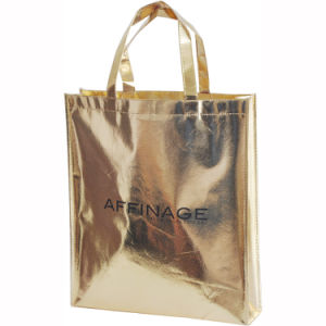 Cheaper Metallic Gold Laminated Non-Woven Handbag pictures & photos