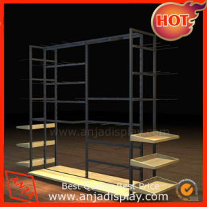 Metal Clothing Display Stand with Wooden Base pictures & photos
