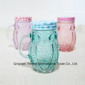 Colord Oval Shape Glass Mason Jar with Handle and Cover pictures & photos