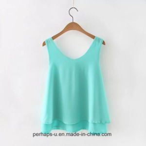 Lady Sleeveless Chiffon Blouse Simple and Wild Loose T-Shirt pictures & photos