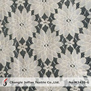 Ivory Cord Flower Nylon Cotton Lace Fabric (M3420-G) pictures & photos
