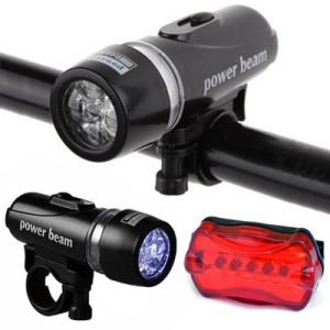 Bicycle Light Set Super Bright 5 LED Headlight Flashlight and Taillight Bike Front Rear Tail Light pictures & photos