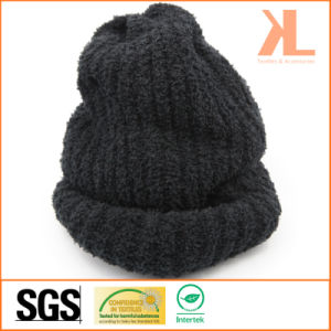 100% Acrylic Winter Warm Black Knitted Hat pictures & photos