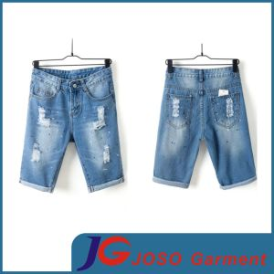 Half Casual Pants Ripped Jean Shorts Women Sports Wear (JC6105) pictures & photos