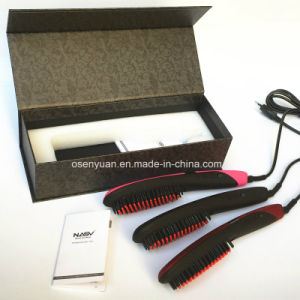 2016 Newest and Hottest Tourmaline Ceramic Electric 3D Digital Control Ionic Comb LCD Hair Straightener Brush with LCD Display pictures & photos