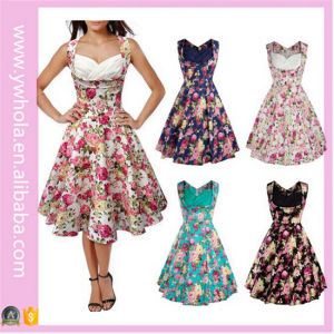Hig Quality Women Summer Floral Vintage Dress pictures & photos