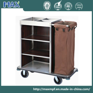 Single Bag Stainless Steel Cleaning Cart Housekeeping Trolley pictures & photos