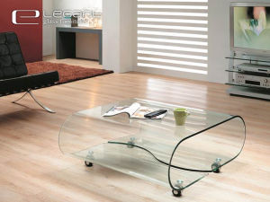Bent Glass Center Table On Rotatable Wheels