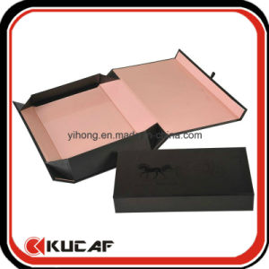 Custom Print Paper Cardboard Flat Folding Black Magnetic Gift Box with Ribbon pictures & photos