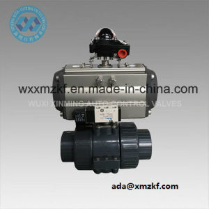 DIN Dn80 UPVC Ball Valve with Spring Return Pneumatic Actuator pictures & photos