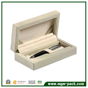 Pure Color Elegant PU Leather Wrapping Wood Pen Box pictures & photos
