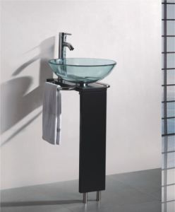 Solid Wood Bracket Glass Wash Basin (7053) pictures & photos