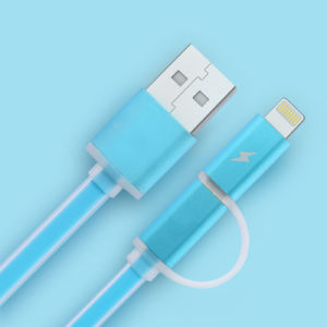 LED 2in1 Lightning Micro USB Data Cable pictures & photos
