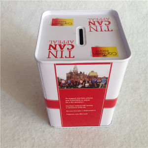 Can Not Opened Coin Bank Tin Can 9X9X13cm pictures & photos
