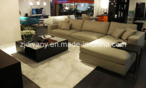 Modern Home Sofa Beige Leather Fabric Sofa (D-72) pictures & photos