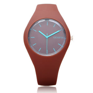 Coffee Color Silicone Wristband Jelly Watch with Competitive Price pictures & photos