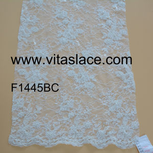 White Polyester Beaded French Lace Made of Factory F1445bc