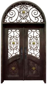 Sz-D031 Grand Wrought Iron Front Door with Transom pictures & photos